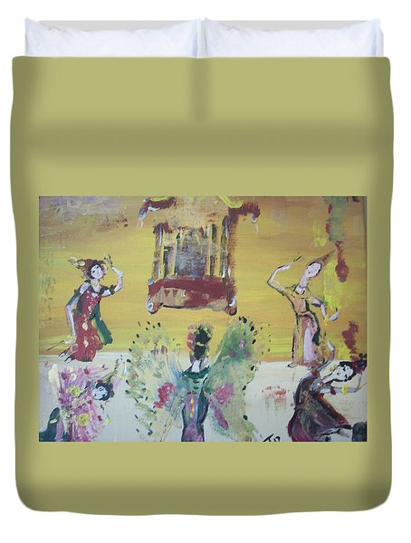 Duvet Cover featuring the painting Thai Butterfly Dance by Judith Desrosiers