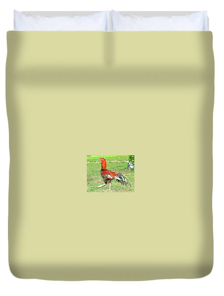 Thai Fighting Rooster Duvet Cover by Charles Shoup
