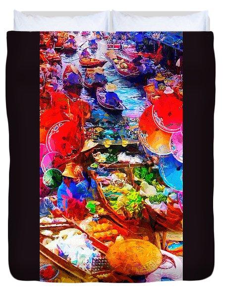 Thai Floating Market Duvet Cover