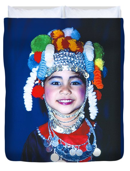 Duvet Cover featuring the photograph Thai Girl Traditionally Dressed by Heiko Koehrer-Wagner