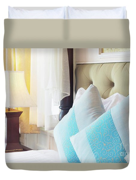 Duvet Cover featuring the photograph Thai Style Bedroom by Atiketta Sangasaeng
