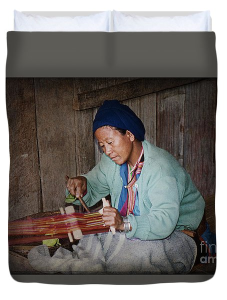 Duvet Cover featuring the photograph Thai Weaving Tradition by Heiko Koehrer-Wagner