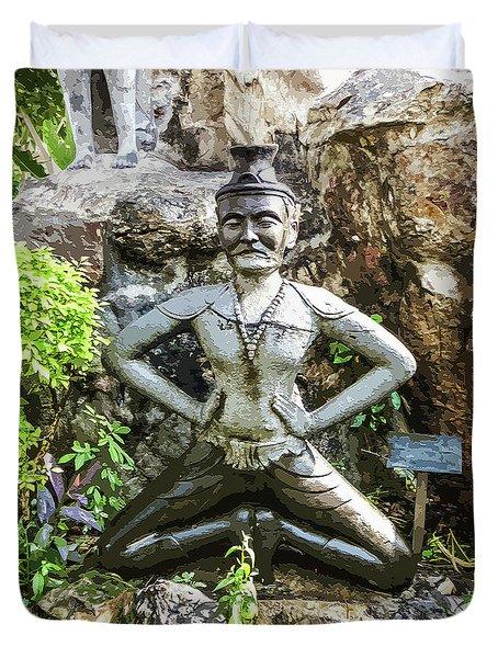Thai Yoga Statue At Wat Pho Duvet Cover