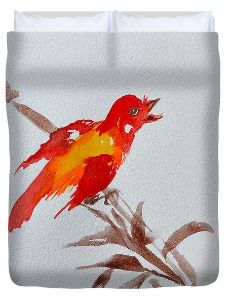 Thank You Bird Duvet Cover by Beverley Harper Tinsley