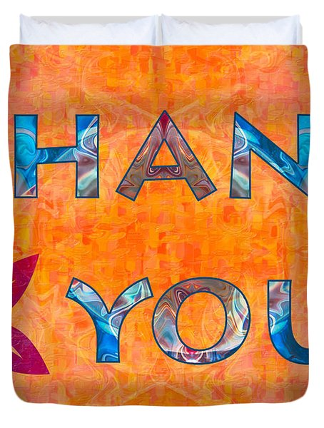 Thank You Flower Abstract Greeting Card Artwork By Omaste Witkow Duvet Cover
