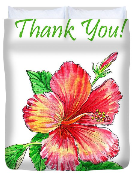 Thank You Hibiscus  Duvet Cover