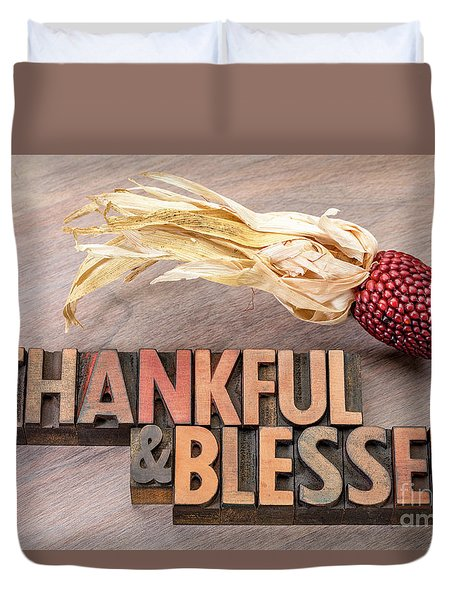 thankful and blessed - Thanksgiving theme Duvet Cover