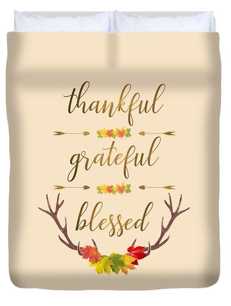 Duvet Cover featuring the digital art Thankful Grateful Blessed Fall Leaves Antlers by Georgeta Blanaru