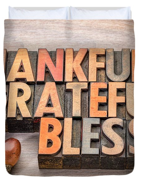 thankful, grateful, blessed - Thanksgiving theme Duvet Cover