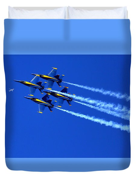 Thanks Goodness For That Fourth Dimension As A Boeing 767 Transitions Above The Box. Duvet Cover