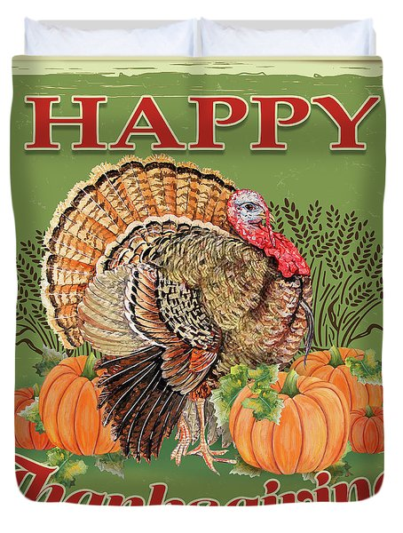Duvet Cover featuring the painting Thanksgiving-b by Jean Plout