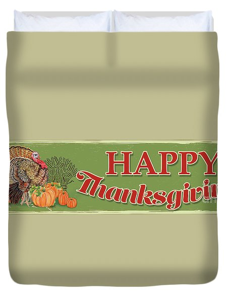 Duvet Cover featuring the painting Thanksgiving-c by Jean Plout