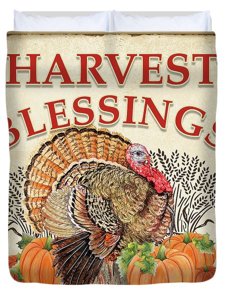 Duvet Cover featuring the painting Thanksgiving-e by Jean Plout