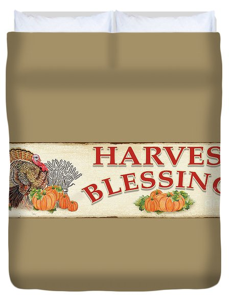 Duvet Cover featuring the painting Thanksgiving-f by Jean Plout