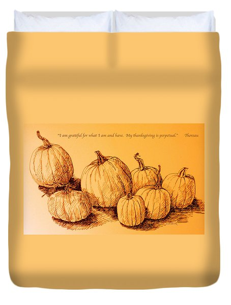 Thanksgiving Pumpkins Duvet Cover by Deborah Dendler