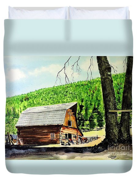 Duvet Cover featuring the painting That Barn From That Movie by Tom Riggs