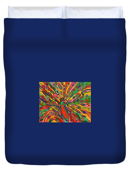 Duvet Cover featuring the painting That Bloomin Peacock by Alison Caltrider