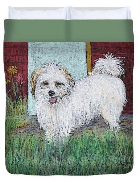 That Little White Dog Duvet Cover by Reb Frost