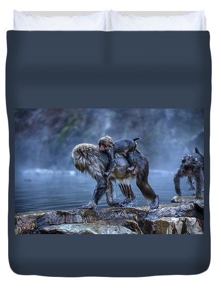 Duvet Cover featuring the photograph That Was A Hot Bath. Now I Gotta Hold On Tight. by Peter Thoeny