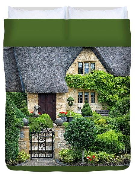 Duvet Cover featuring the photograph Thatch Roof Cottage Home by Brian Jannsen