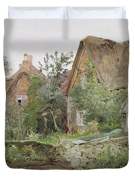 Thatched Cottages And Cottage Gardens Duvet Cover