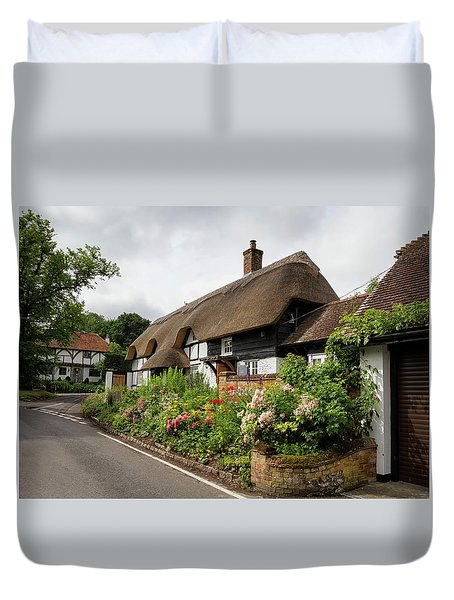 Thatched Cottages In Micheldever Duvet Cover