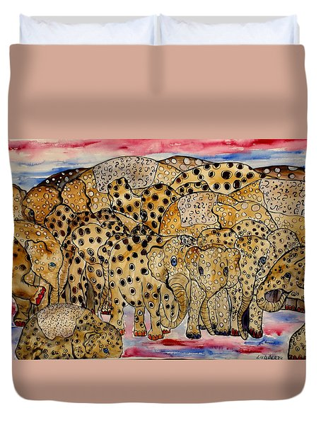 That's Alot Of Elephants Duvet Cover by Lisa Aerts