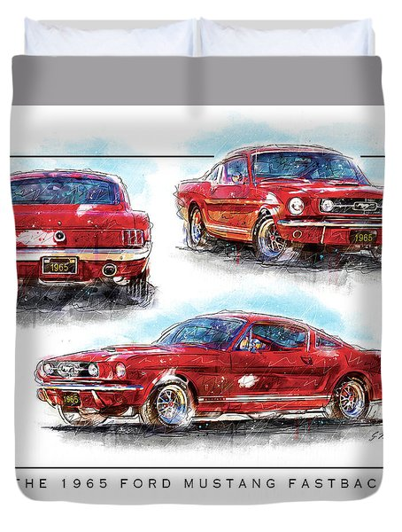 The 1965 Ford Mustang Fastback I Duvet Cover