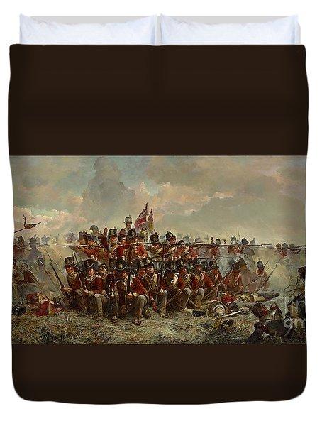 The 28th Regiment At Quatre Bras Duvet Cover by Elizabeth Butler