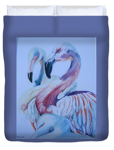 The 3 Flamingos Duvet Cover