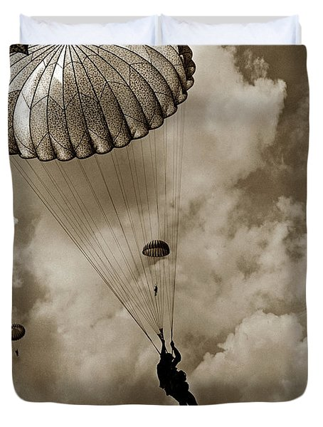 The 82nd Airborne  Hits The Silk Fort Ord 1953 Duvet Cover