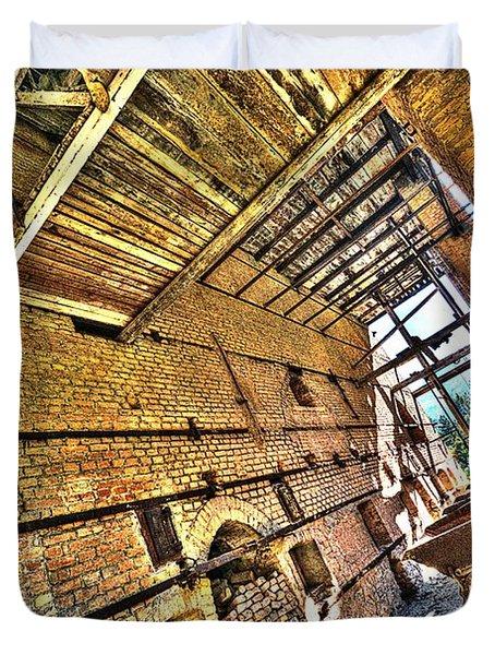 The Abandoned Furnace Quarry Building Duvet Cover