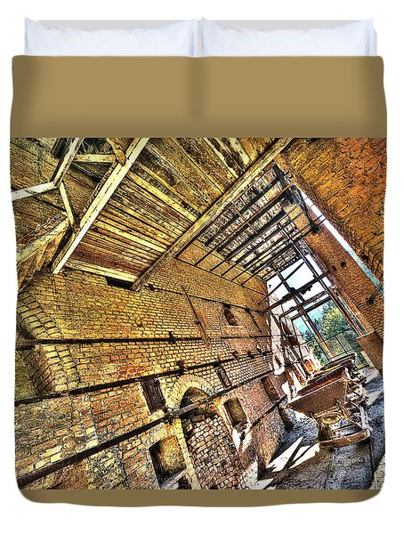 Duvet Cover featuring the photograph The Abandoned Furnace Quarry Building by Enrico Pelos