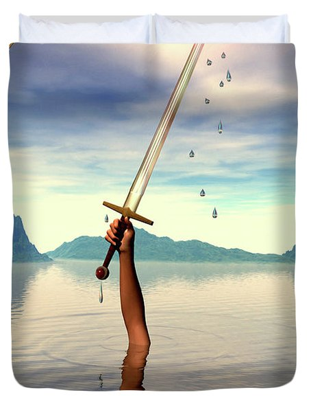 The Ace Of Swords Duvet Cover by John Edwards