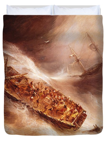 The Act Of Sacrifice Made By Captain Desse Towards The Dutch Ship Columbus Duvet Cover by Jean Antoine Theodore Gudin