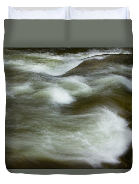 Duvet Cover featuring the photograph The Action On Top by Mike Eingle