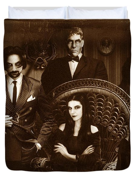 The Addams Family Sepia Version Duvet Cover