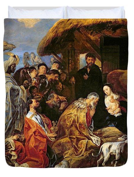 The Adoration Of The Magi Duvet Cover by Jacob Jordaens