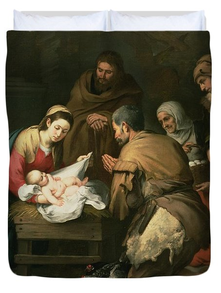The Adoration Of The Shepherds Duvet Cover
