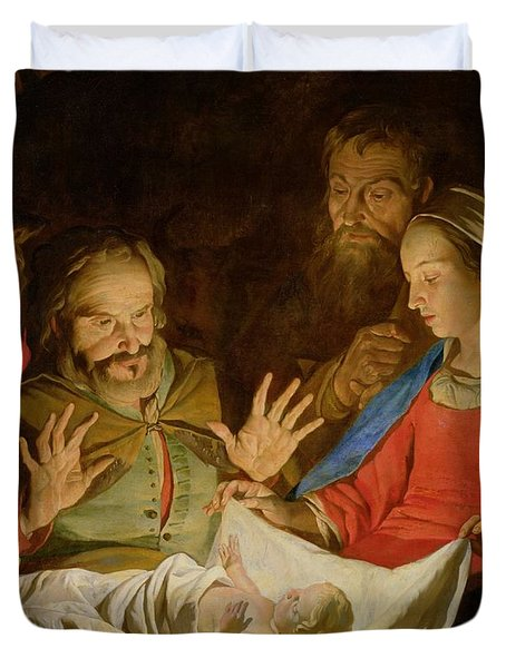 The Adoration Of The Shepherds Duvet Cover by Matthias Stomer