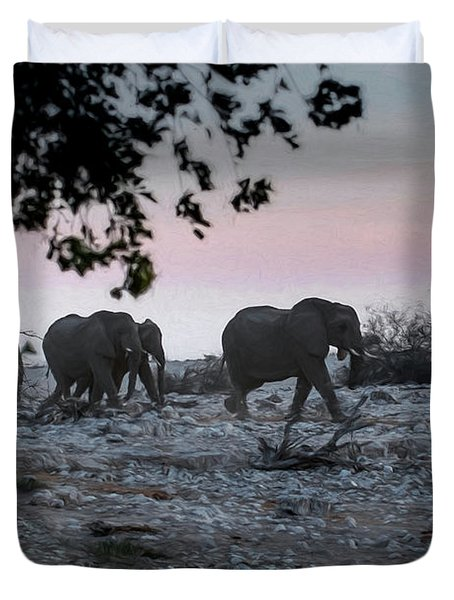 Duvet Cover featuring the digital art The African Elephants by Ernie Echols