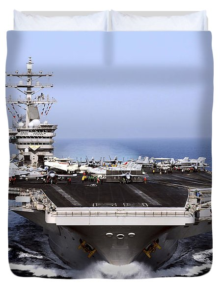 Duvet Cover featuring the photograph The Aircraft Carrier Uss Dwight D by Stocktrek Images