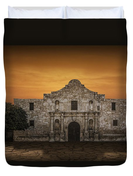 The Alamo Mission In San Antonio Duvet Cover by Randall Nyhof