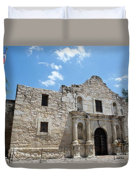 Duvet Cover featuring the photograph The Alamo Texas by Steven Frame