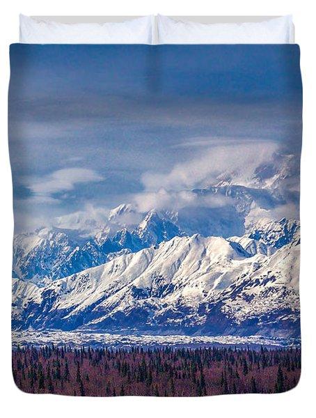 The Alaska Range At Mount Mckinley Alaska Duvet Cover by Michael Rogers