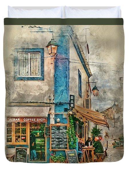 The Albar Coffee Shop In Alvor. Duvet Cover
