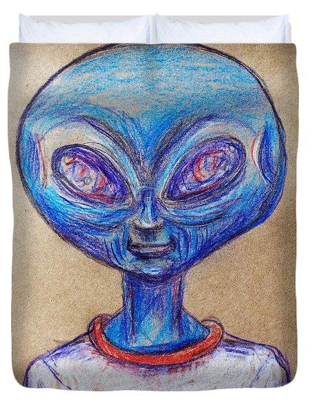 The Alien Is L-i-v-i-n Duvet Cover