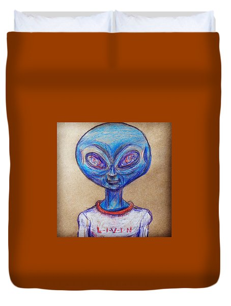 The Alien Is L-i-v-i-n Duvet Cover