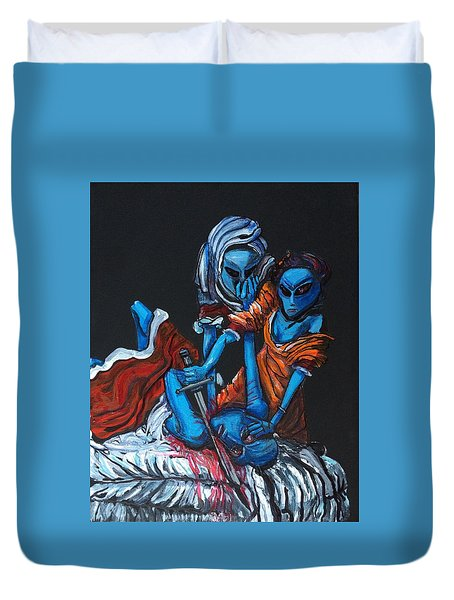 The Alien Judith Beheading The Alien Holofernes Duvet Cover