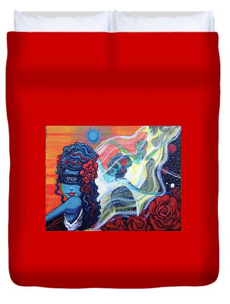 The Alien Scarlet Begonias Duvet Cover